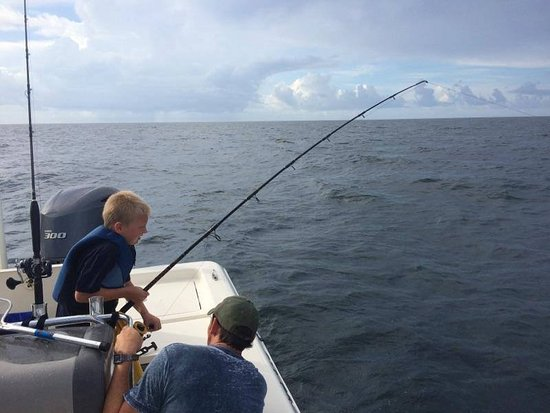Lost Bay Guide Service - Private Charters: My son catching a kingfish
