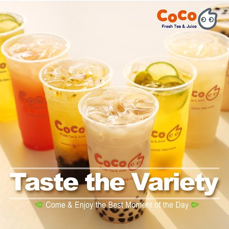 Variety of milk tea, fresh fruit juices, and smoothies