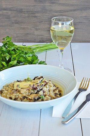 Indigo - Eats, Treats & Bar: Mushroom Risotto and a glass of wine