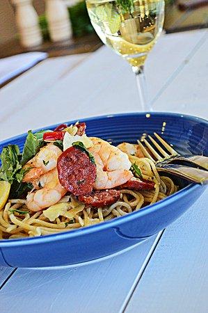 Indigo - Eats, Treats & Bar: Prawn and Chorizo spaghetti