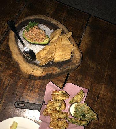 Deviled avocado and crispy shrimp