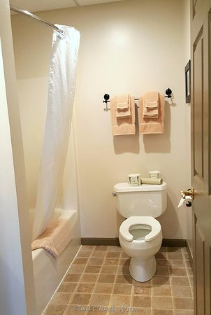 Berlin, OH: Bathroom in the DLUX room- Deluxe room with 1 King Bed, Kitchenette and Jacuzzi tub