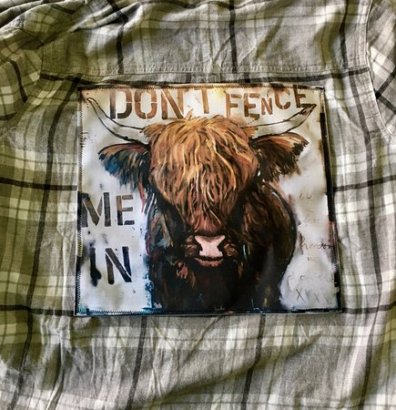 "Basalt, CO: Our waiters' flannel with Tori's ""Dont Fence Me In"", also available for purchase!"