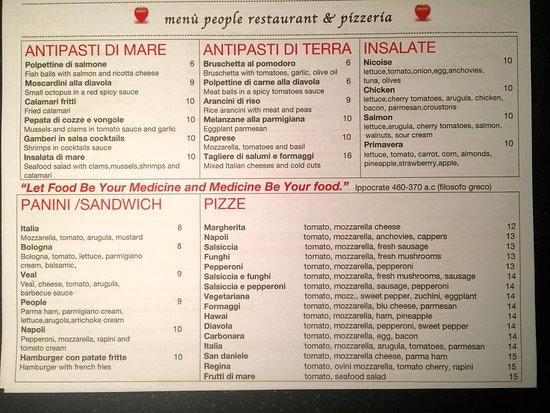 Menu People Restaurant - Picture Of People Italian Restaurant