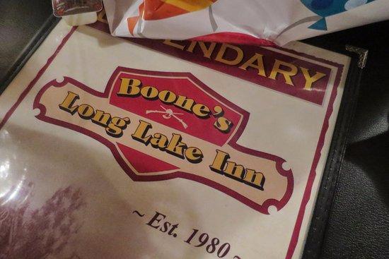 Boone's Long Lake Inn: Large menu...LEGENDARY