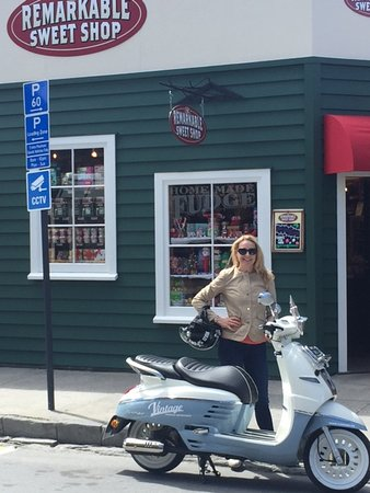Camilla on Arrowtown's historic main street, just before she raided the Remarkable Sweet Shop.