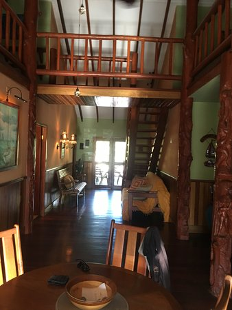 Captain Jak's Cabanas: photo from kitchen to front balcony, up top hall to connect lofts