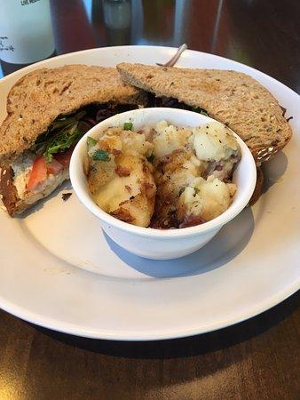 Zoes Kitchen Chicken Salad Sandwich chicken salad sandwich with grilled potato salad - picture of zoes