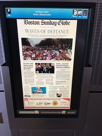 Boston Sunday Globe for January 22, 2017 displayed in the Newseum the day after the Women's Marc