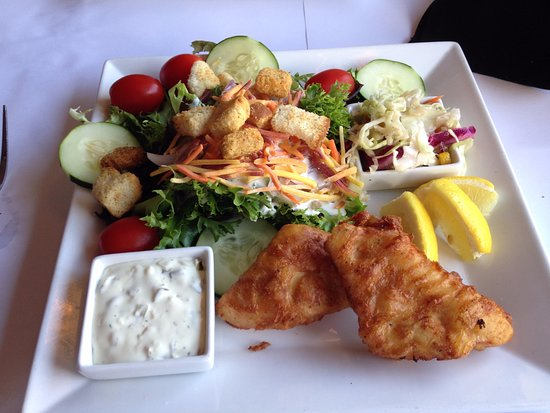 Twisted Fish Steakhouse: Battered halibut and a salad.