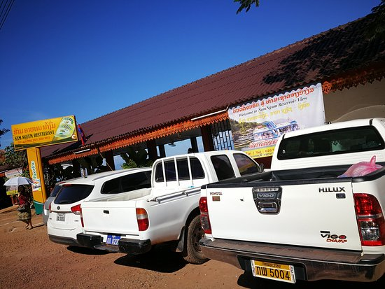Thalat, Laos: The carpark area besides the seafood restaurants