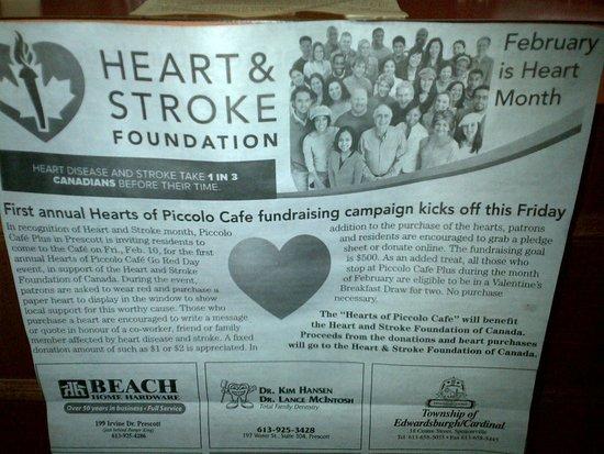 Piccolo Cafe Plus : Heart & Stroke Fundraiser