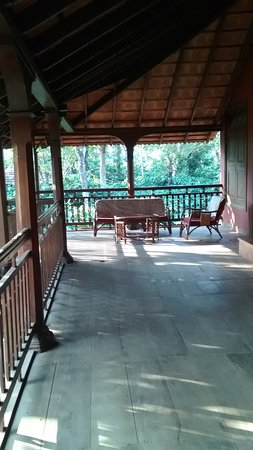 Aranyakam : One side of the large balcony surrounding our rooms