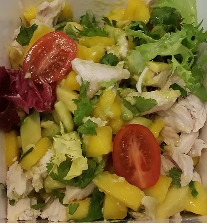 Whoosh: Chicken salad with avocado and mango,dressed with lime juice. Mouth wateringly good!