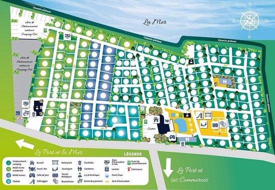 Saint-Vaast-la-Hougue, Francia: plan du camping de Saint Vaast la Hougue proche mer, port et commerces