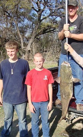 Von Ormy, TX: 37.5 pound cat fish caught by 15 year old guest