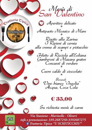 """Oliveri, Italia: Ecco a voi il Menu di S. Valentino, """"TRATTORIA TIPICA U SCHITICCHIU"""" naturalmente su prenotazion"""