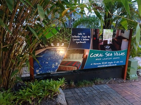 Coral Sea Villas Port Douglas: Sign in front of property on Macrossan St.