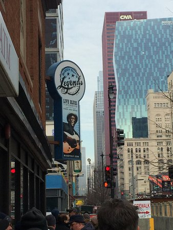 The entrance to Legend's looking north on Wabash Ave.