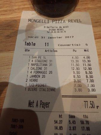 Pizza Mongelli: l'addition pour 5 pers avec biere et vin pas mal