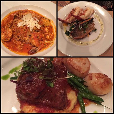 Ambler, PA: Seafood Fra Diavolo, Branzino with Lobster tail, Short ribs with scallops
