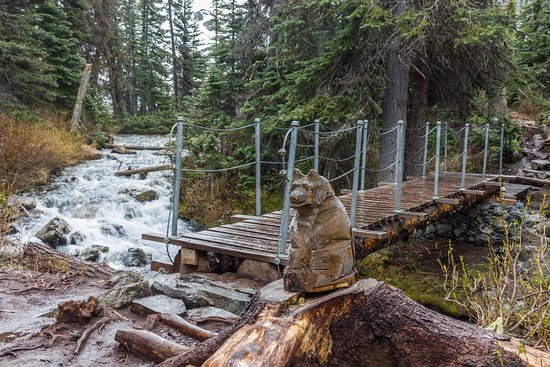 Pemberton, Canada: Bridge to the upper lake. Stormy weather and slippery ground in May