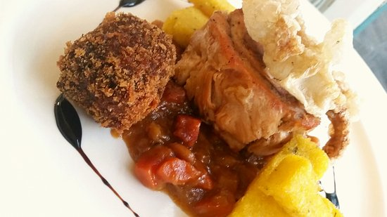 Munslow, UK: Belly Pork and Homemade Black Pudding Fritter