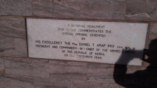 Uhuru Gardens Memorial Park: Monumental Plaque