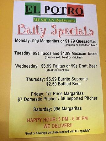 Daily Specials Picture Of El Potro Mexican Restaurant
