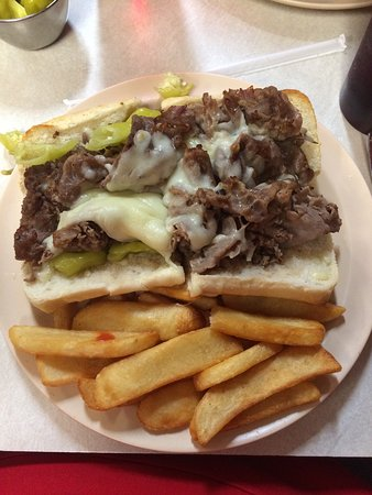 Vienna, IL: The Italian Beef with Cheese and fries.