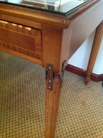 Macdonald Holyrood Hotel: This is the 'repair' to the desk. It is a health hazard, especially for a toddler.