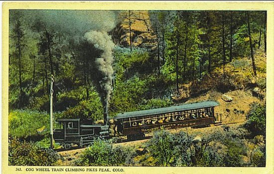 Manitou Springs, CO: Early 20th century postcard of Pikes Peak Cog Railway