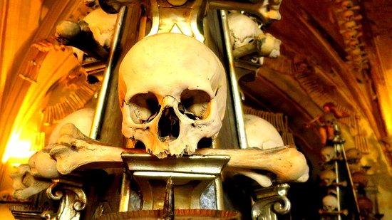 Sedlec, Τσεχική Δημοκρατία: A skull and femur bone on display