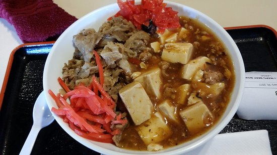 Pearl City, HI: Mabo tofu and beef rice combo bowl (large)