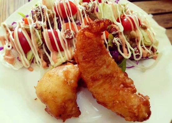 Chengde, China: Beer batter fish & salad