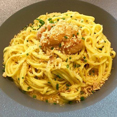 Gattopardo Ristorante Di Mare: Tagliolini pasta with sea urchin and bottarga sauce! Yummy!