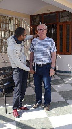 Jaipur Friendly Villa : Designer / tailor Prem completing a suit measurment
