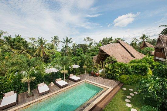 Sandat Glamping Tents: Main pool at Lumbung area overlooking the Resort