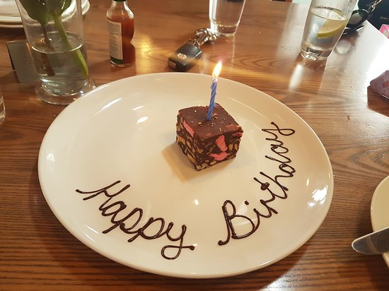 La Belle Bistro & Bakery: Complimentary birthday brownie