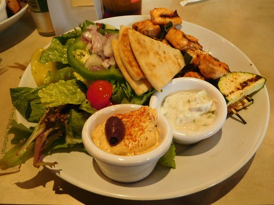 Zoes Kitchen Greek Chicken Pita steak stack and greek salad - picture of zoes kitchen
