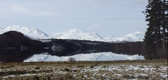Winter view of Loch Laggan & the Nevis Range Mountains