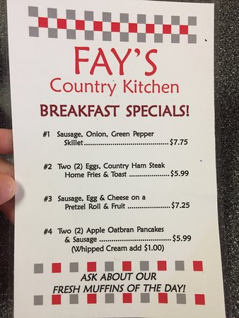 Fay's Country Kitchen: Feb. 2017 menus