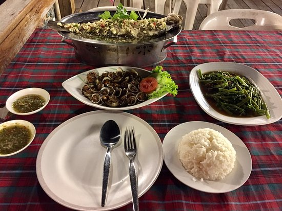 Meekaruna Seafood Restaurant: Steamed sea bass and stir fried morning glory.