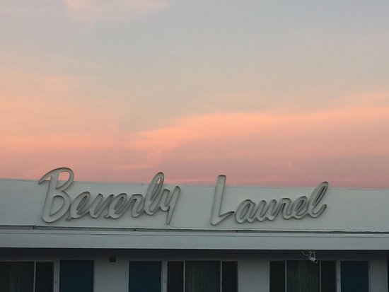 Beverly Laurel Motor Hotel: Name sign as seen from outside my room