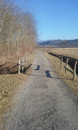 "Vicchio, Włochy: The ""Sentiero dei pittori"" as a plain path along the Sieve river, in a beautiful winter afternoo"