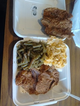 Oxon Hill, MD: Pork chops, rice and string beans, and baked mac and cheese.