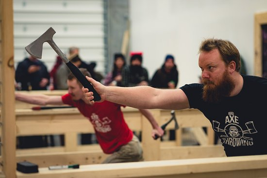 Surrey, Canada: Axe Throwing Coaches showing you how it's done!