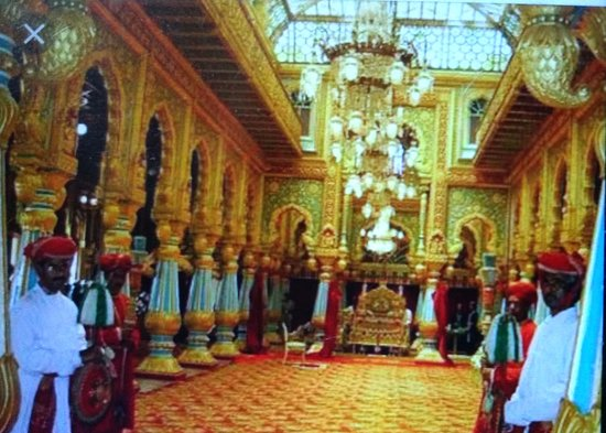 Mysore Maharajahs Palace Amba Vilas Darbar Hall With The Golden Throne Courtiers