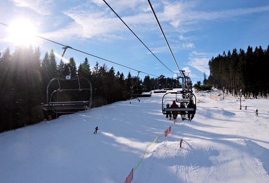 Zadov, Republik Ceko: Picture on ski slope taken from the cableway