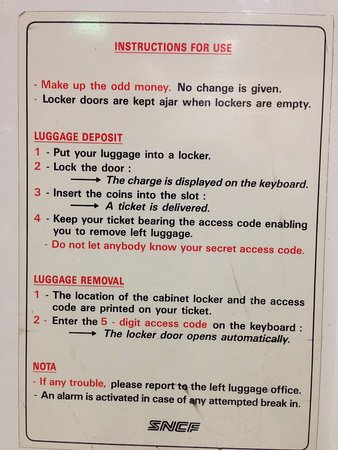 Instructions For Use Of Locker Storage